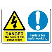 Multiple safety sign - The Back of This 038